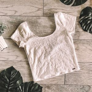 Abercrombie & Fitch Lace Ribbed Crop Top